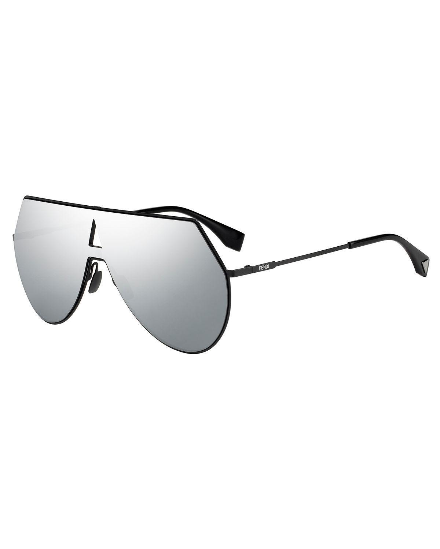 dbc39a3ea90 Lyst - Fendi Eyeline Mitered Shield Sunglasses in Black
