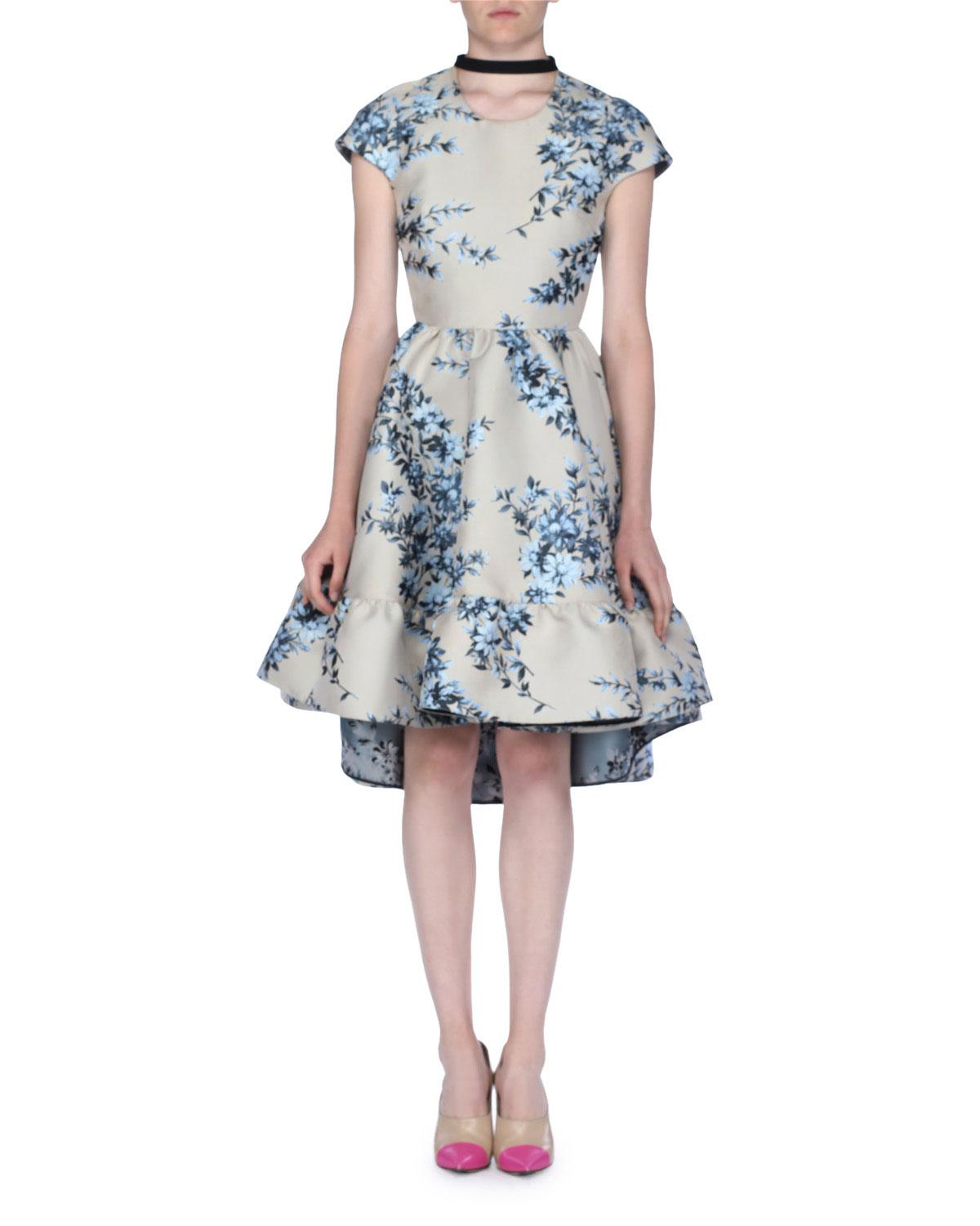 fdd4f275911 Lyst - Fendi Cap-sleeve Floral Jacquard Dress With Ribbon Tie in Natural