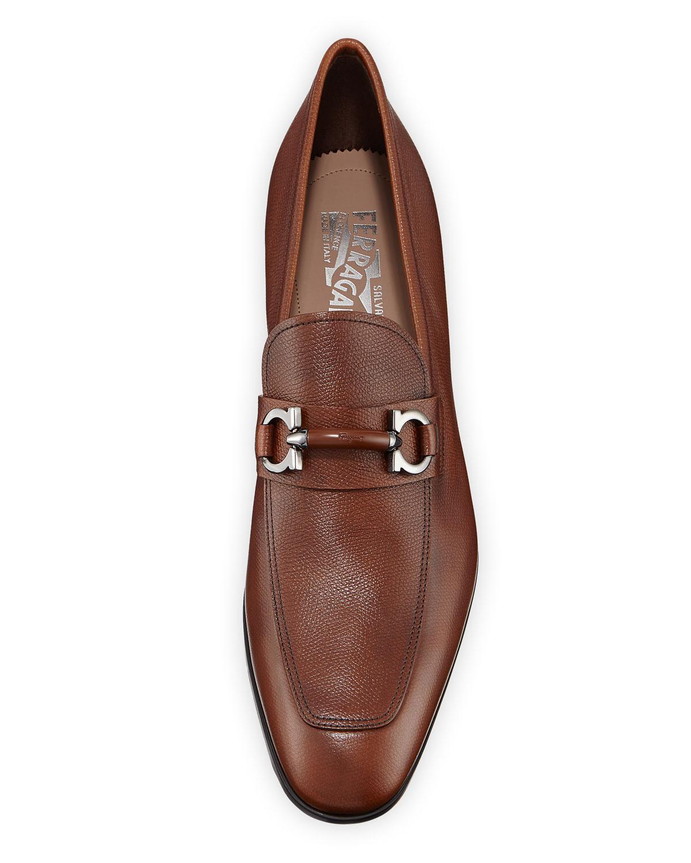 17749d3c25b4 Lyst - Ferragamo Men s Benford Textured Leather Slip-on Bit Loafers in  Brown for Men