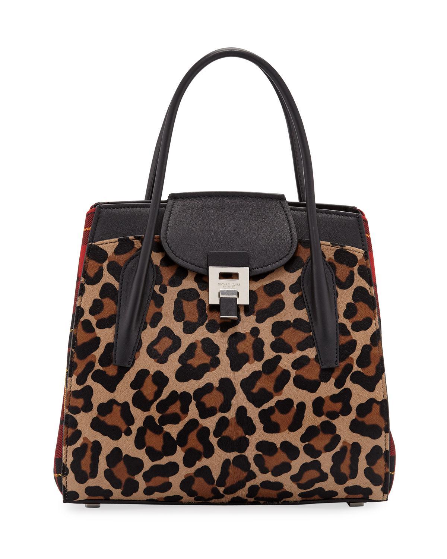 2a922b6433f5d5 Michael Kors Bancroft Leopard Tartan Satchel Bag - Lyst