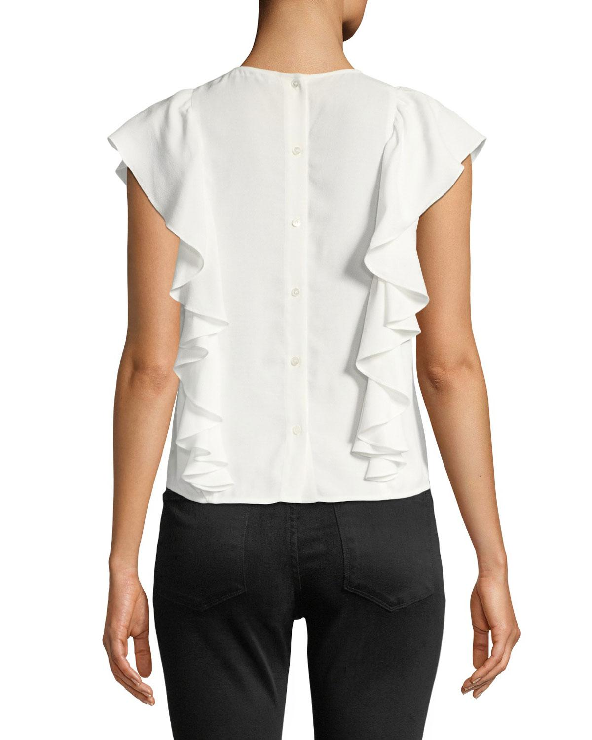56b6a471daf Lyst - Frame Knotted Flutter-sleeve Button-back Top in White