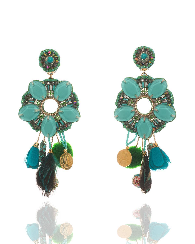Ranjana Khan Beaded Tassel Drop Clip-On Earrings, Emerald