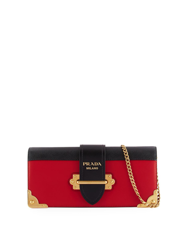 4b014f8b640189 Lyst - Prada Cahier Calf Flap-top City Clutch Bag in Black - Save 4%