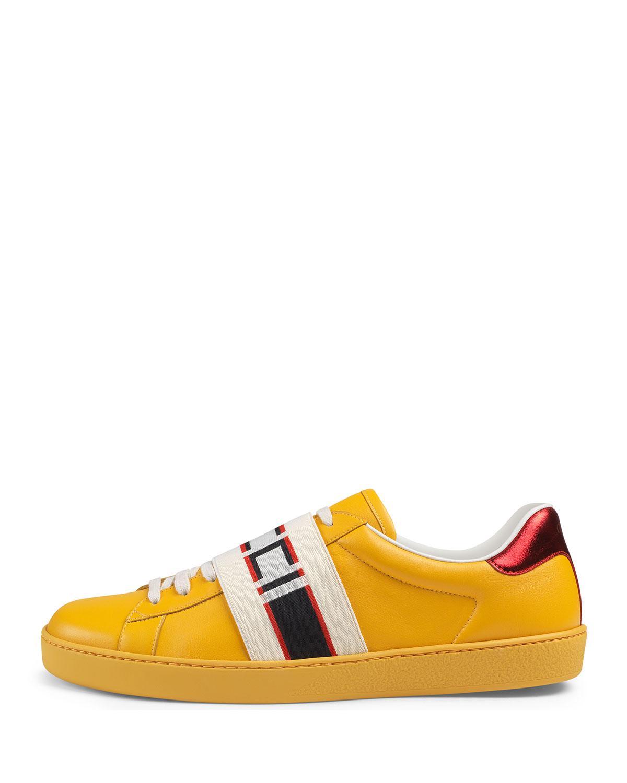 200169136a1 Lyst - Gucci Stripe Leather Sneaker in Black for Men