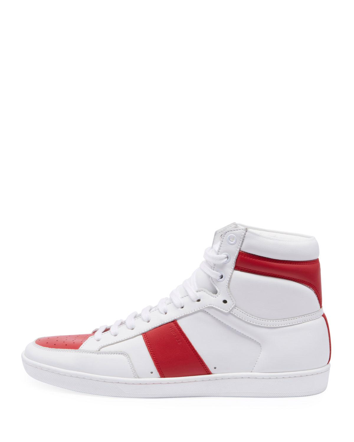 97e8fb3adf63c Lyst - Saint Laurent Sl 10h Leather Sneakers in White for Men - Save  25.157232704402517%