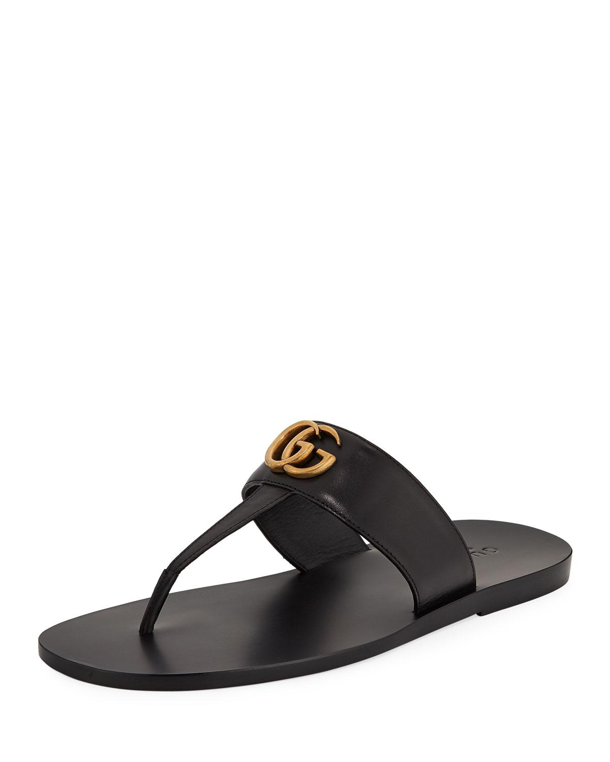 1bcb3996d9c4 Gucci Men s GG-Stud Leather Thong Sandals in Black - Lyst