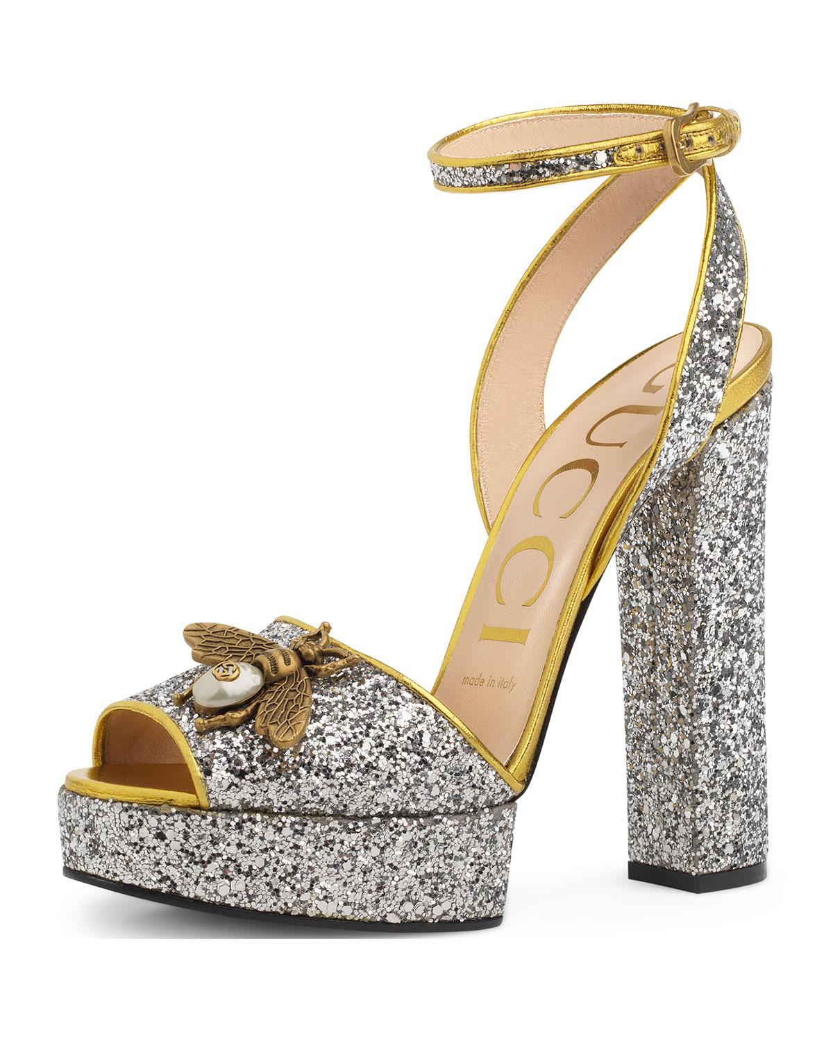 Gucci. Women's Metallic Soko Glittered Ankle-wrap Platform Sandal
