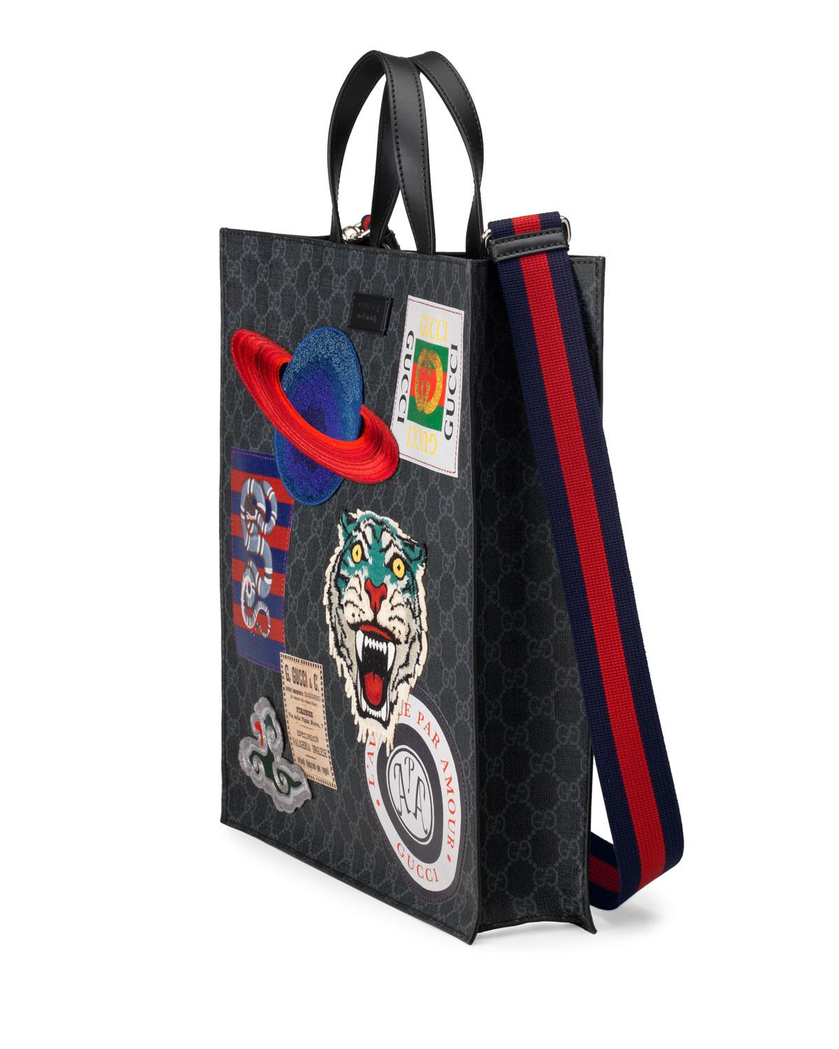 d10b4411117 Gucci Men s GG Supreme Tote Bag With Patches in Black - Lyst
