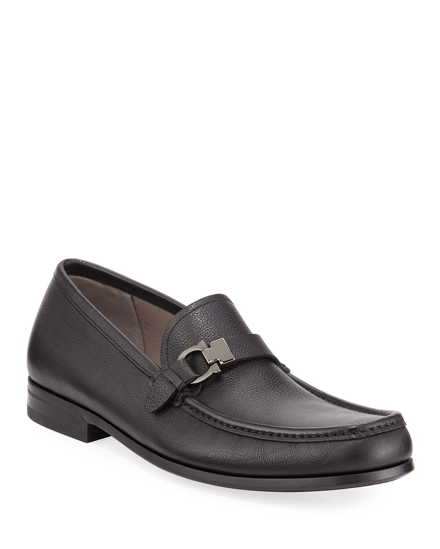 8aa55d71d68 Lyst - Ferragamo Men s Adam Leather Gancio Loafers in Black for Men