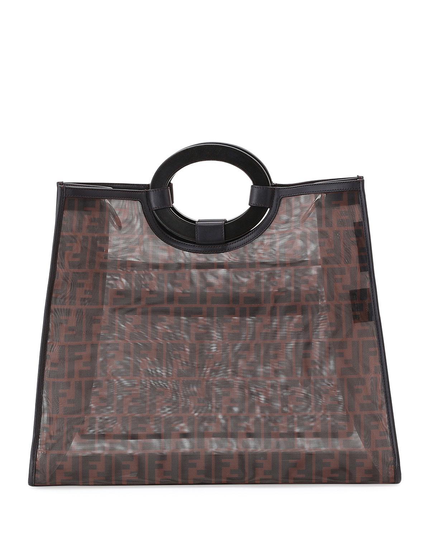dcf8753e7663 Fendi Runaway Printed Logo Mesh Shopper in Brown - Save 10% - Lyst
