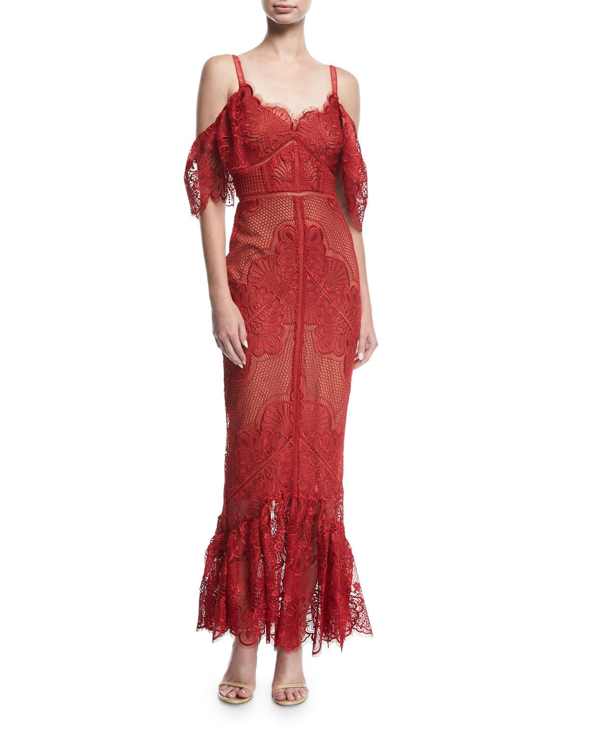 3f8852f3 Marchesa notte Cold-shoulder Fitted Guipure Lace Evening Gown in Red ...