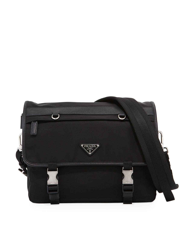 f454c6336a7a ... ireland lyst prada tessuto montagno leather trim messenger bag in black  62aa5 4ce0b