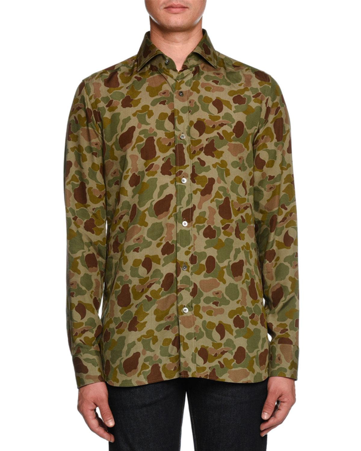 d79f1d24b Lyst - Tom Ford Camouflage-print Sport Shirt in Green for Men