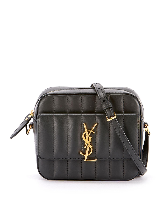 85adaecca10227 Saint Laurent. Women's Black Vicky Medium Ysl Monogram Quilted Camera Bag