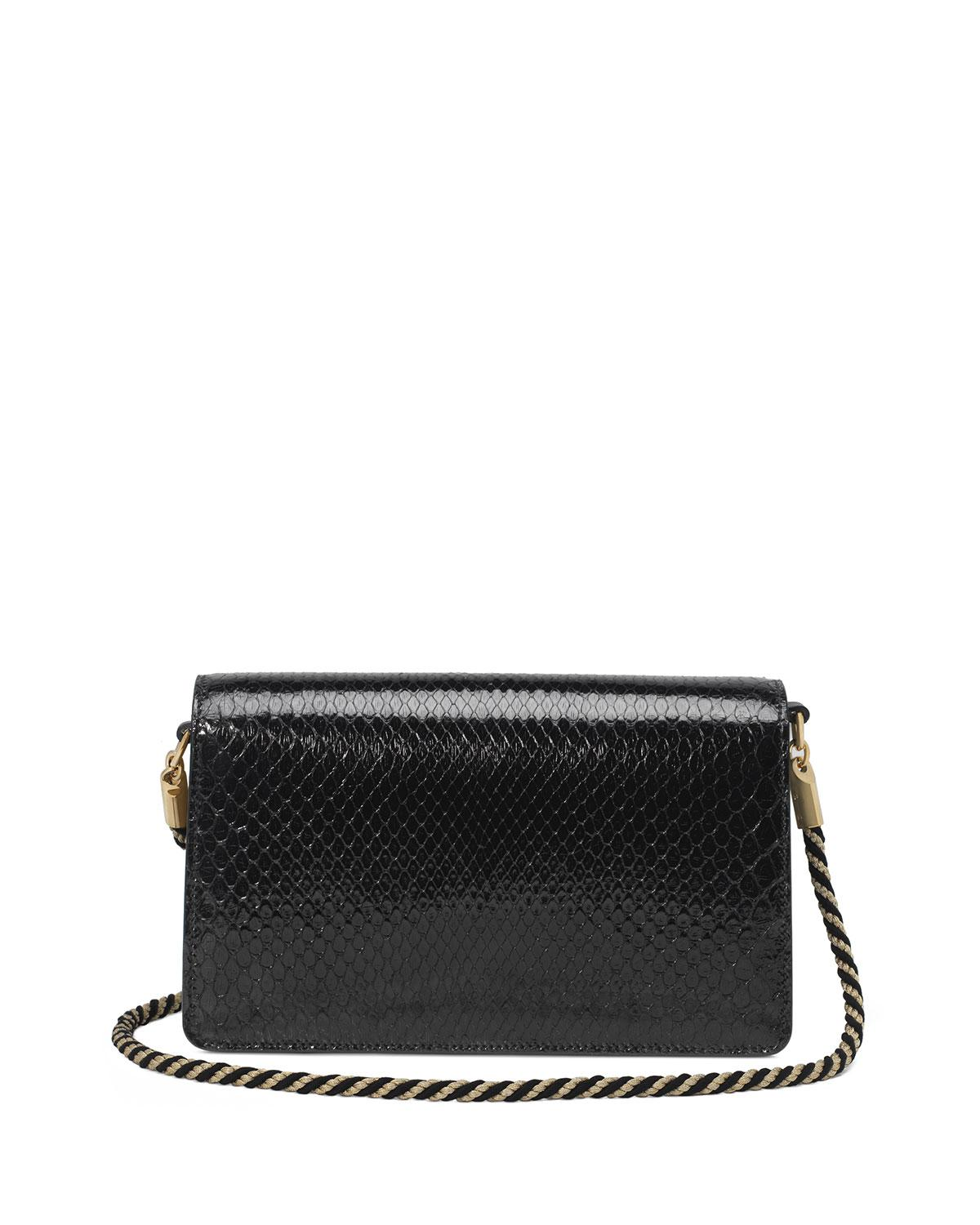 380b9569b2a Lyst - Gucci Broadway Small Python Snake Shoulder Bag With Square G ...