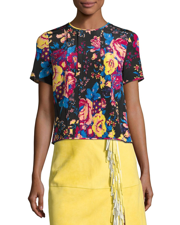 Lyst diane von furstenberg floral print tailored silk t for Diane von furstenberg shirt