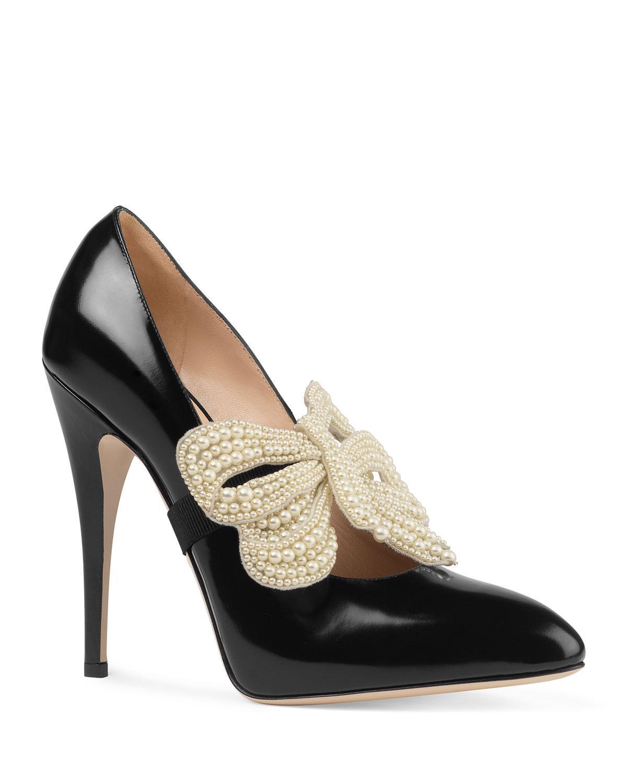 72e9f147fec Lyst - Gucci Elaisa Pearly Bow Pumps in Black