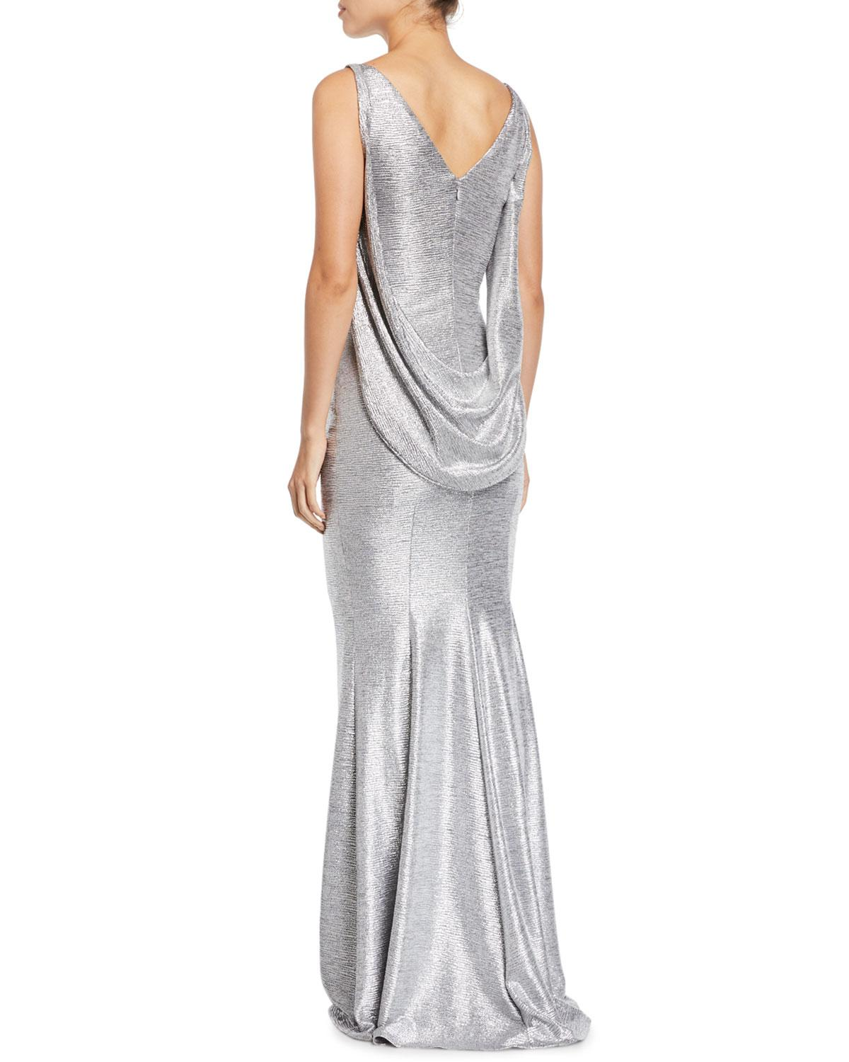 dcb285a2b7b ... Ponceau 8 Sash-back Boat-neck Metallic Trumpet Evening Gown -. View  fullscreen