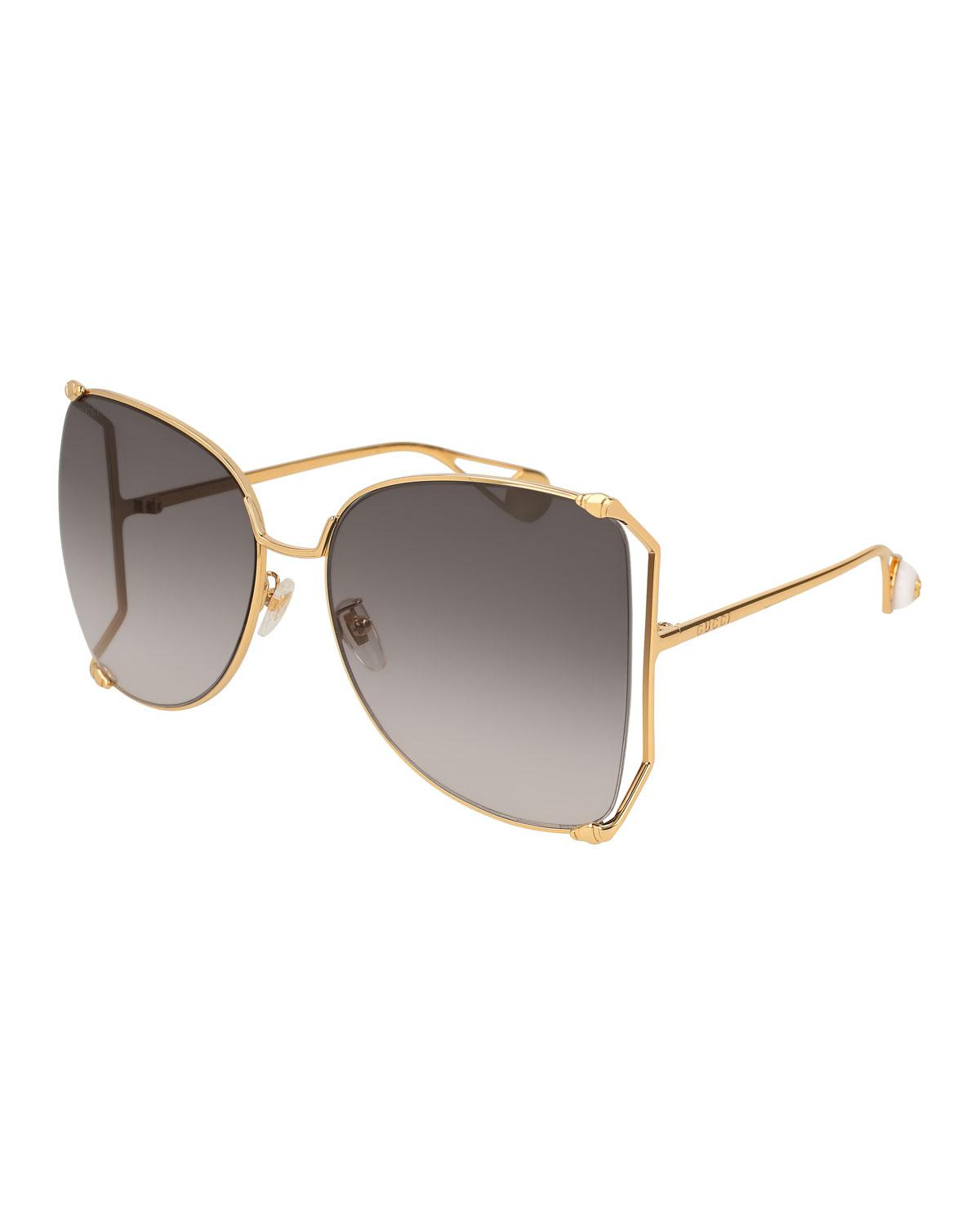 d48472875a Lyst - Gucci Oversized Metal Butterfly Sunglasses in Metallic