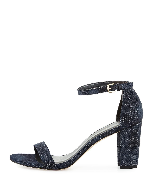 7de4f96e504 Lyst - Stuart Weitzman Nearlynude Denim City Sandals in Blue - Save 25%