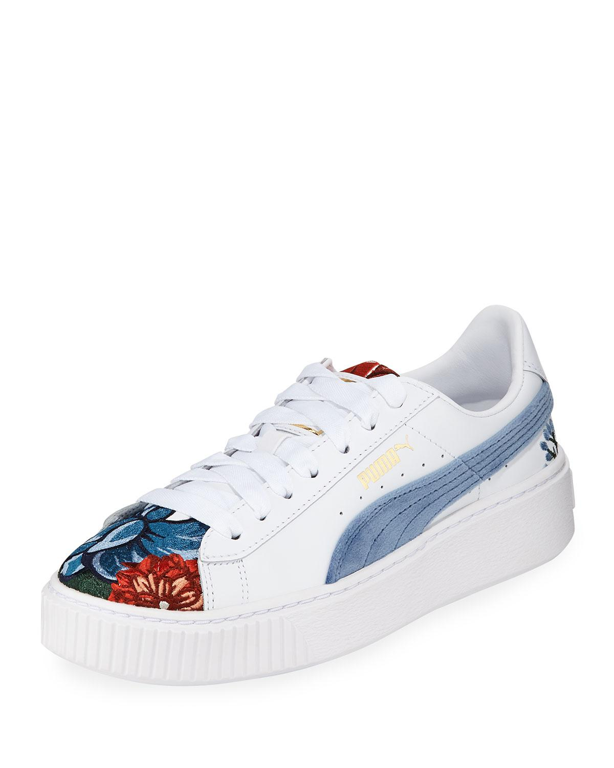 478ea11e9d1 Puma Hyper Embroidered Platform Sneakers in White - Lyst