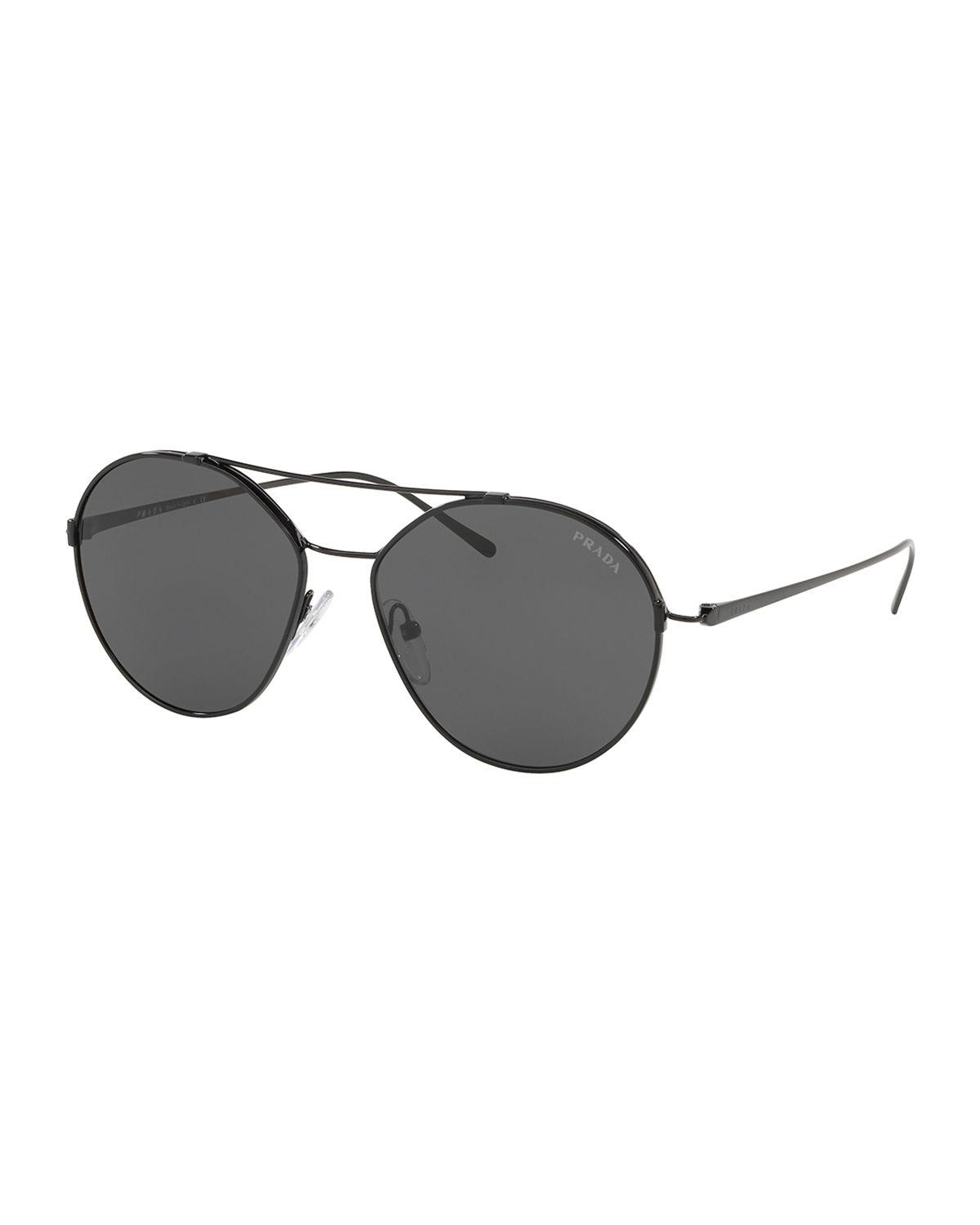 cd53749f7c Lyst - Prada Men s Pr63us Round Metal Aviator Sunglasses in Black for Men
