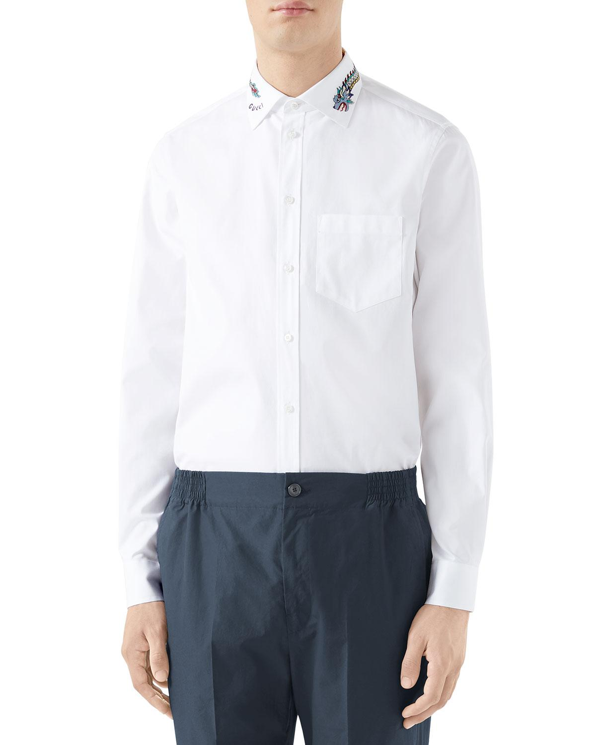 14d5b4a9b Gucci Men's Embroidered-collar Pinpoint Sport Shirt in White for Men ...