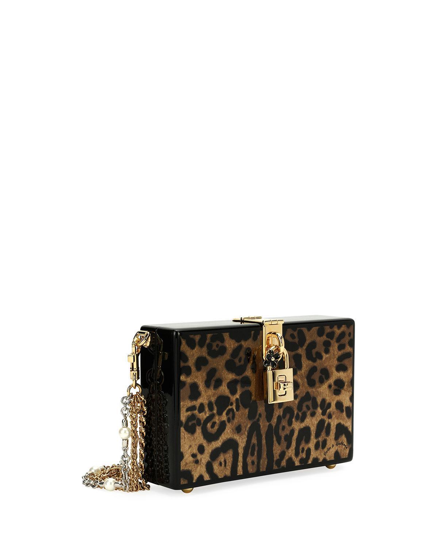 ff7dce2b441c Lyst - Dolce   Gabbana Leopard-print Wood Box Clutch Bag in Brown