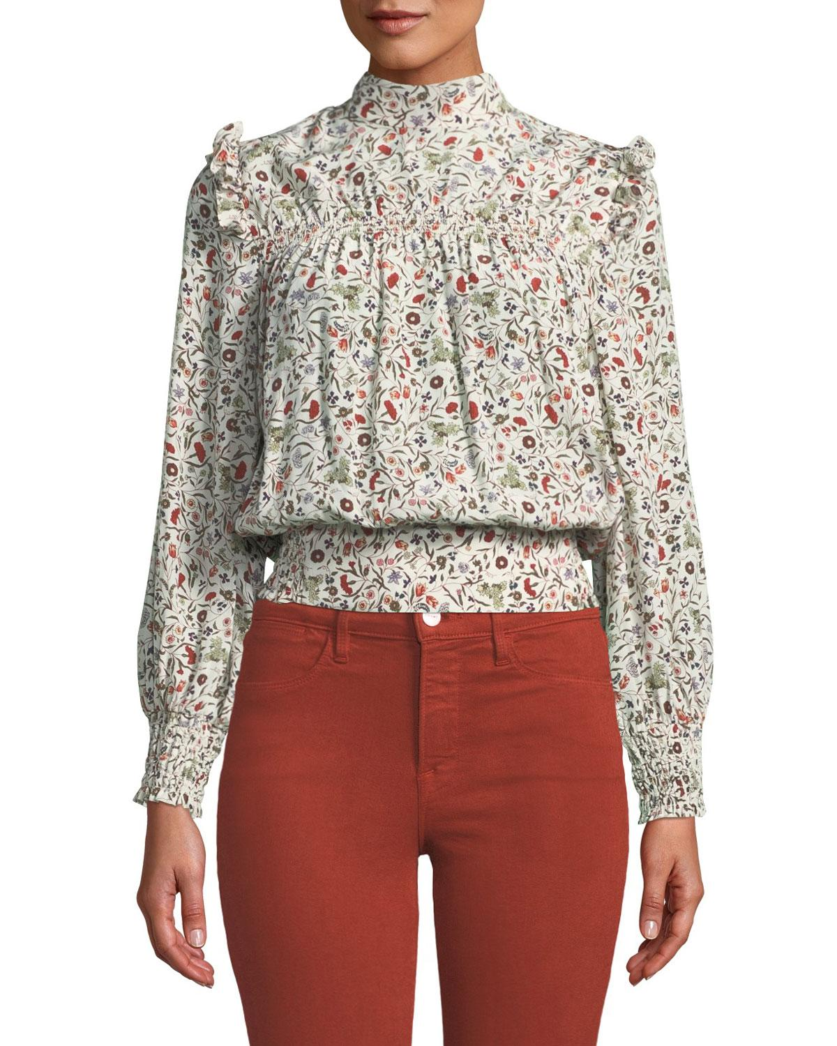 31c7c948cce95 Lyst - FRAME Smocked High-neck Floral Silk Blouson Top in White