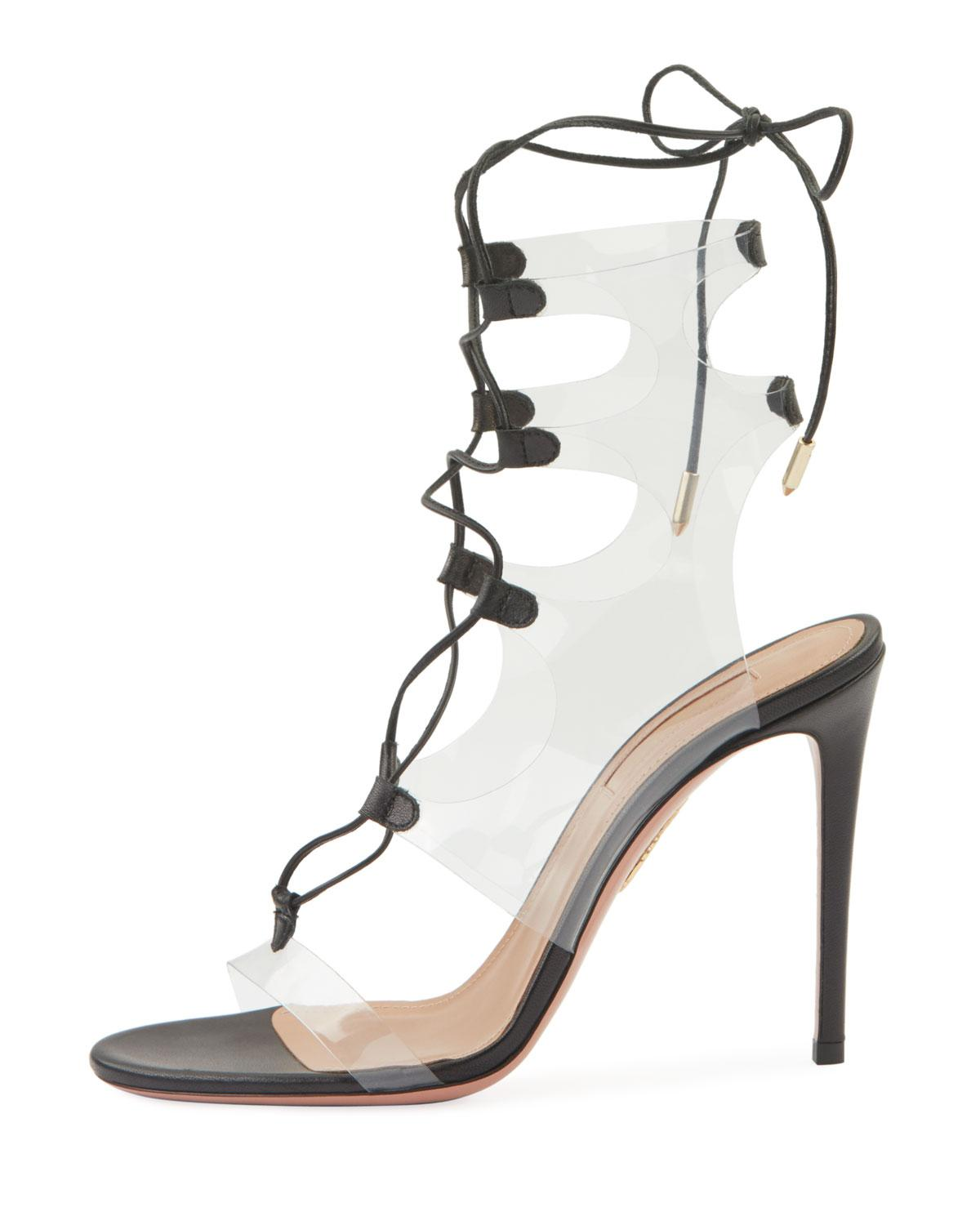 079163cc546 Lyst - Aquazzura Milos 105 See-through Sandals in Black