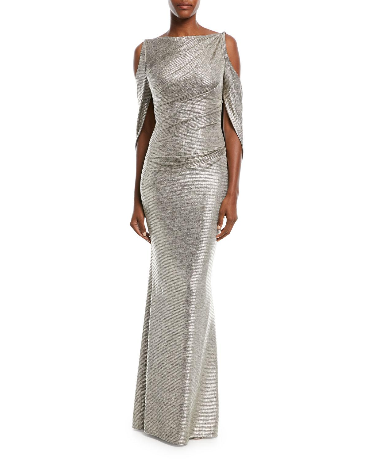 80f281bc464 Talbot Runhof Ponceau Metallic Cold-shoulder Gown in Metallic - Lyst