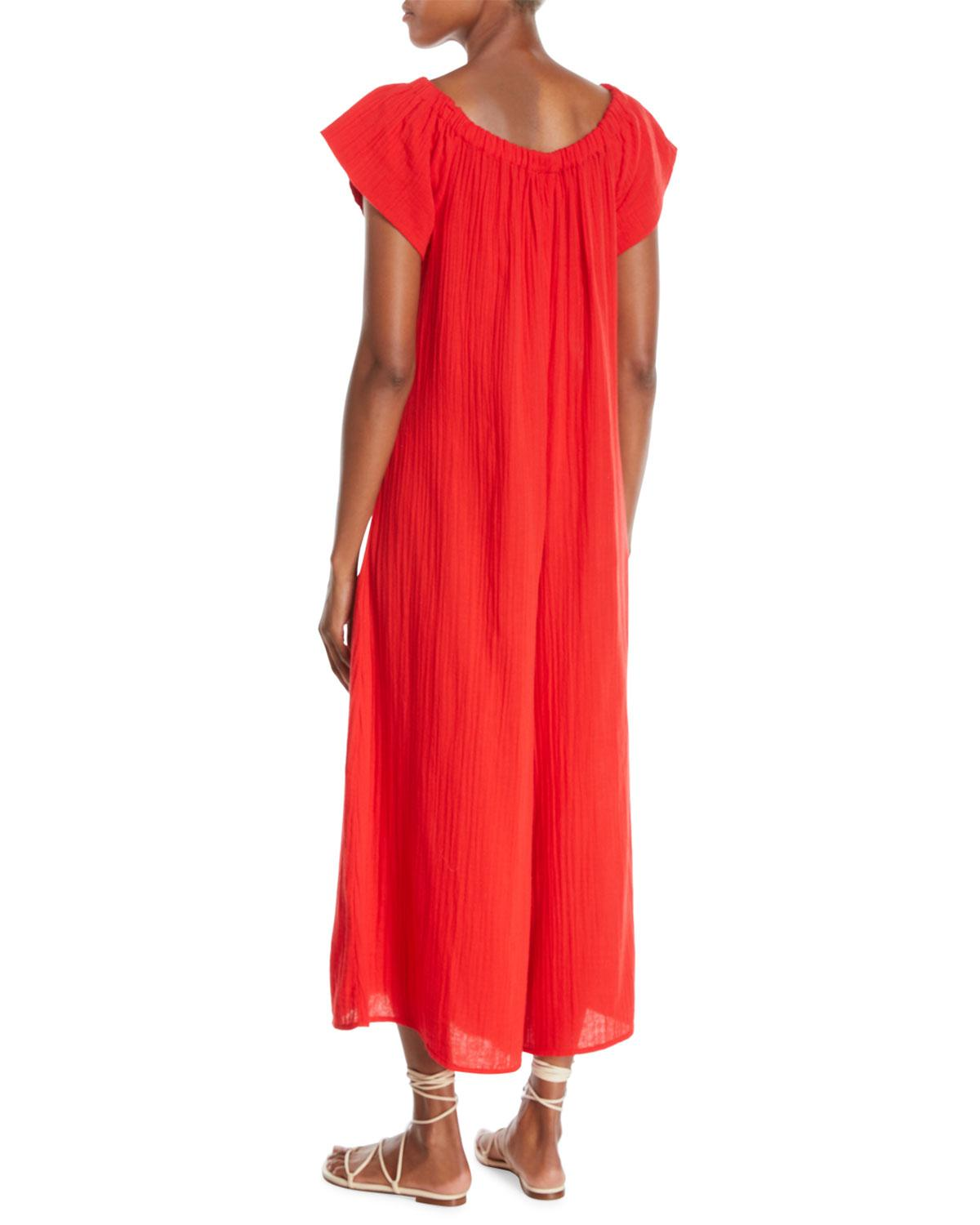 81b0924631 Lyst - Mara Hoffman Plus Size Blanche Wide-leg Organic-cotton Jumpsuit  Coverup in Red
