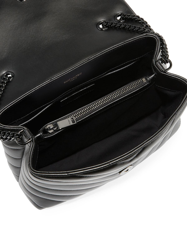 56d911759c1b Saint Laurent Monogram Ysl Loulou Small Chain Shoulder Bag in Black - Lyst