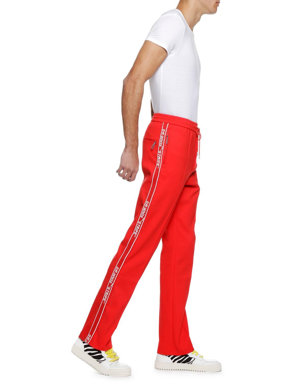 e4422309 Off-White c/o Virgil Abloh Men's Logo-taping Track Pants in Red for Men -  Lyst