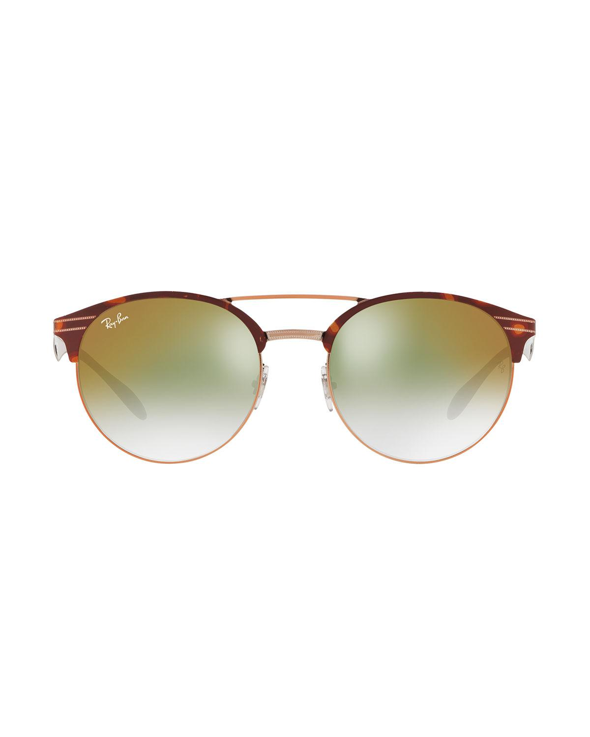 f713a30506 Lyst - Ray-Ban Club Round Mirrored Metal Double-bridge Sunglasses in Green