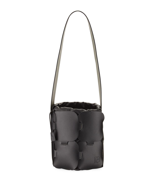 Lyst - Paco Rabanne Mini Brick-pattern Leather Bucket Bag in Black 7cf7ec94f7a63