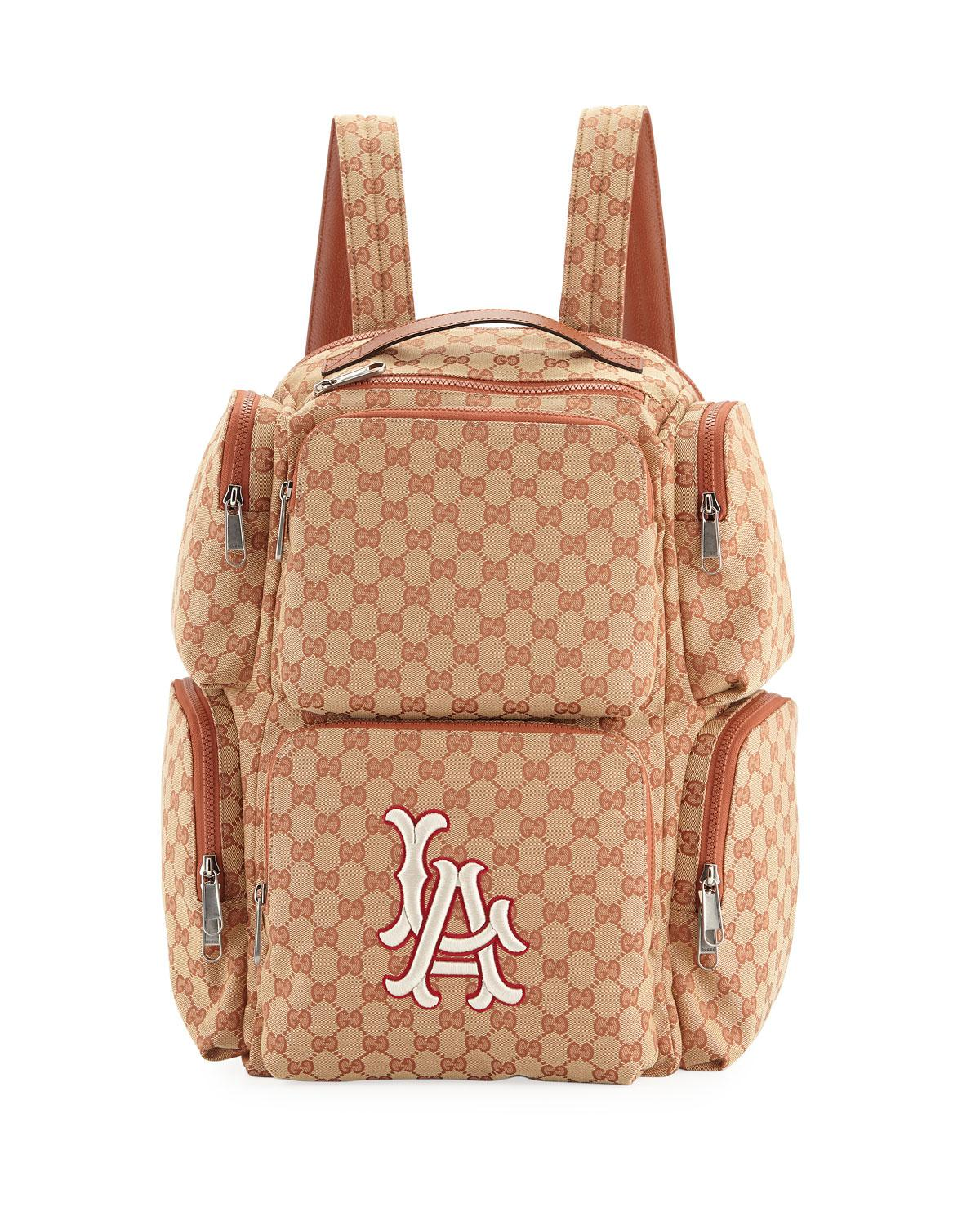 Lyst - Gucci Men s Large Original GG Backpack With La Angels Mlb ... d31bec95be02f