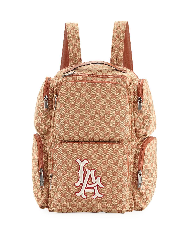 Lyst - Gucci Men s Large Original GG Backpack With La Angels Mlb ... d31bec95be02f