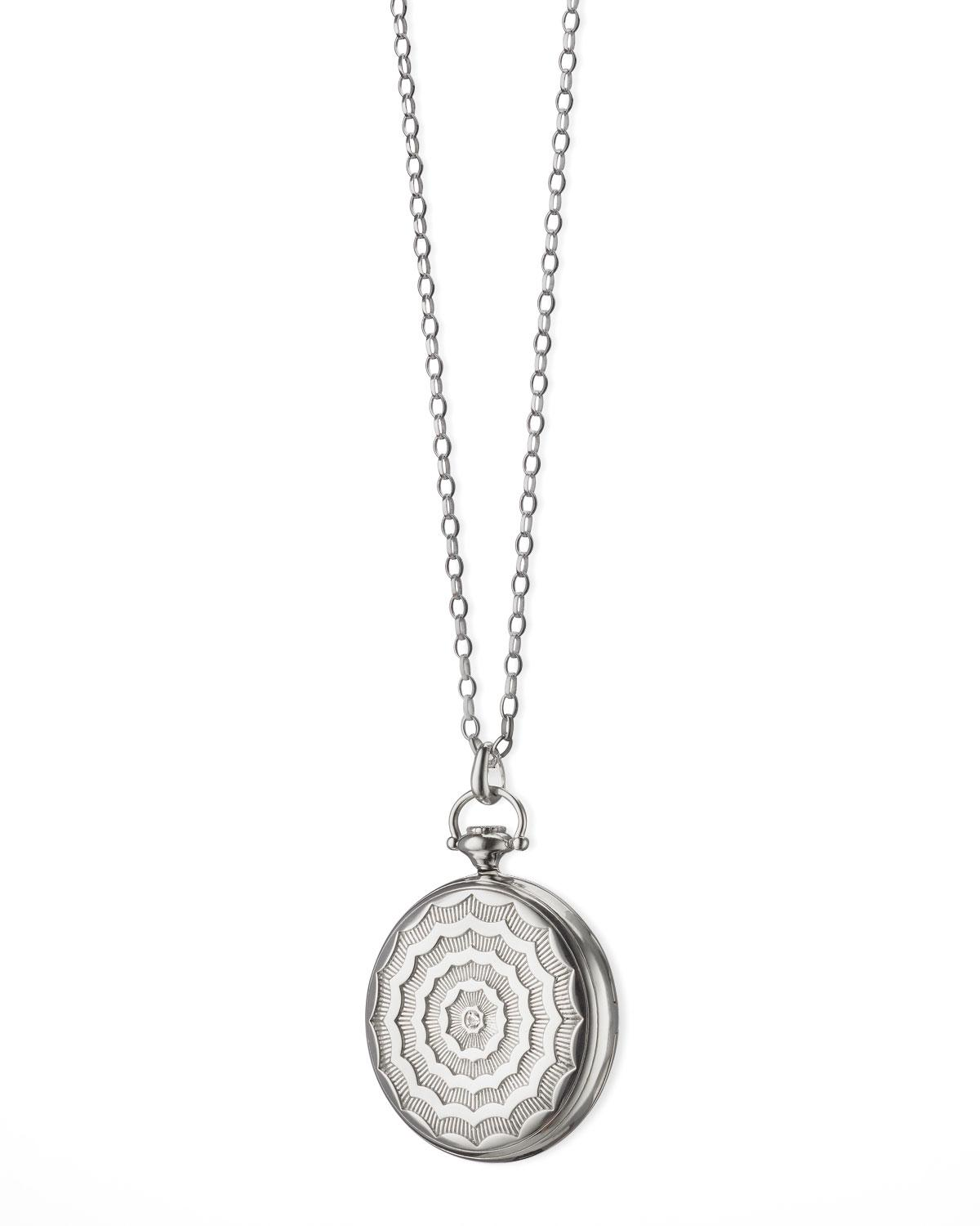 Monica Rich Kosann Passion Faceted Sterling Silver Locket Necklace 0g7m4uF0