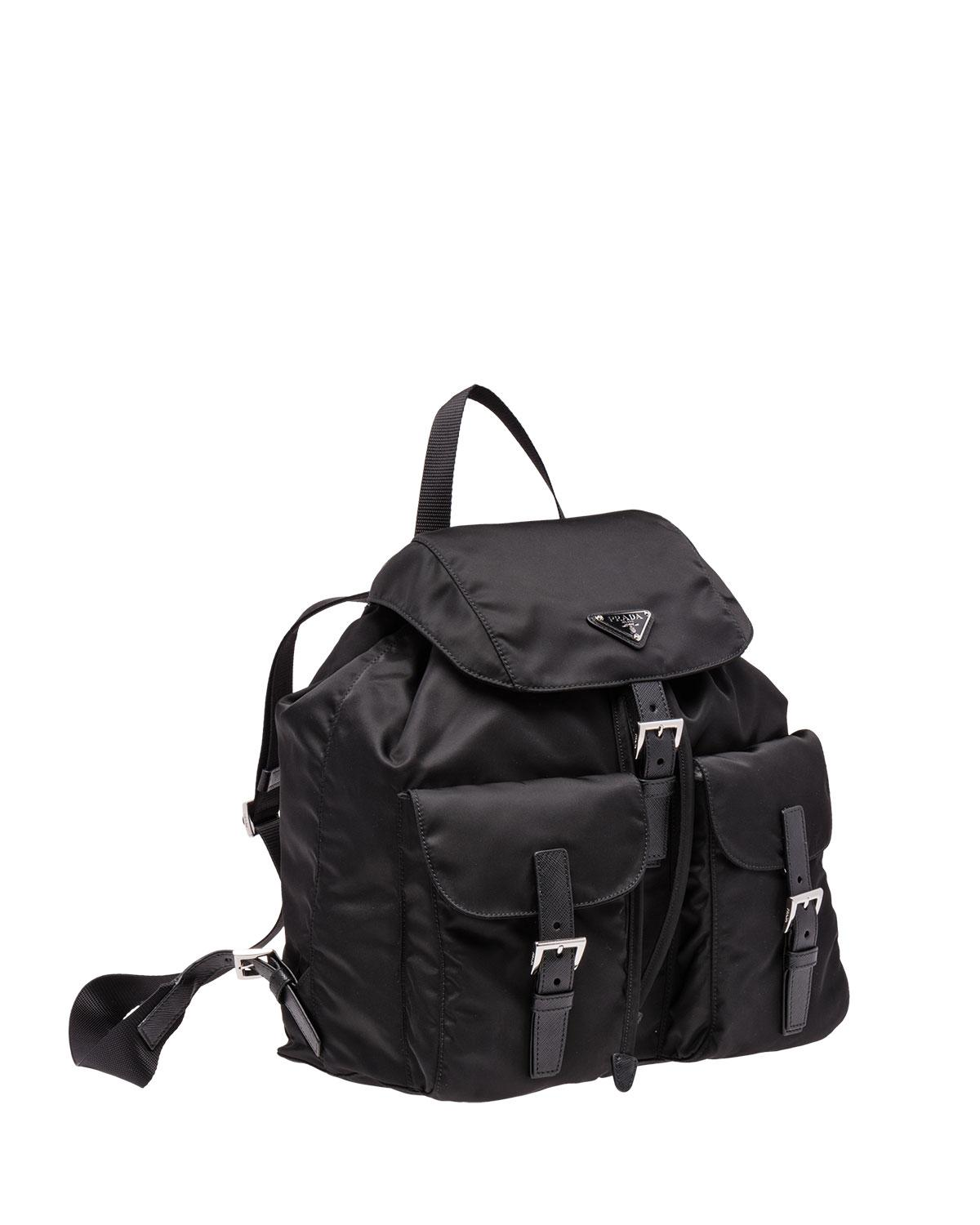 382ef2ae2dcf ... 50% off lyst prada vela large two pocket backpack in black for men  fde30 2889a
