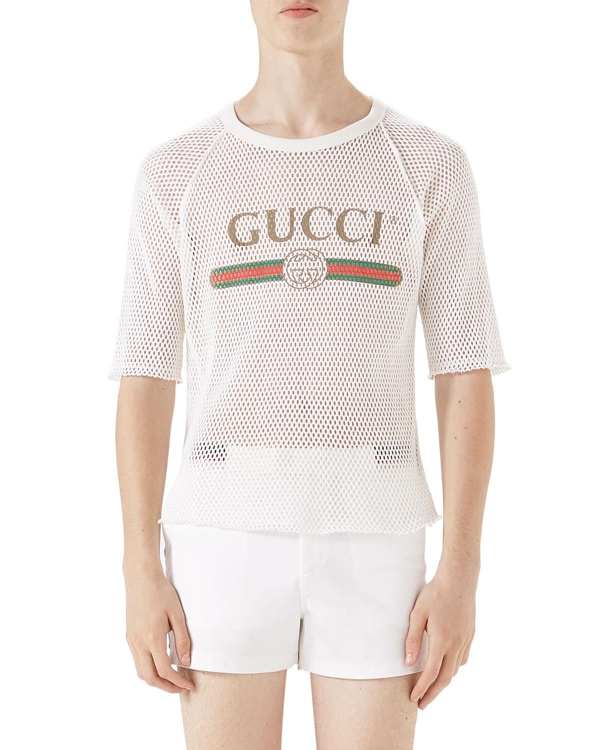 5c904b86 Gucci Logo-graphic Cotton Mesh T-shirt in White for Men - Lyst