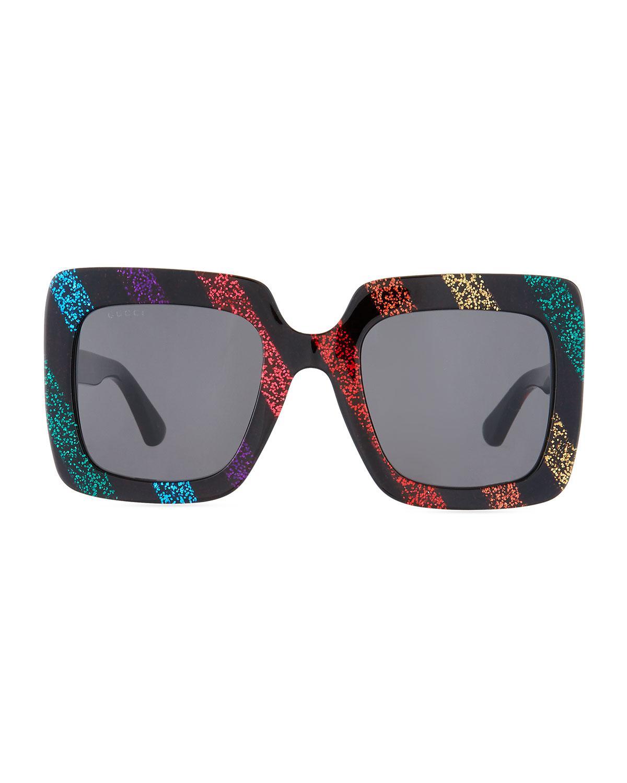 c74f23caf59 Lyst - Gucci Glitter Striped Acetate Rectangle Sunglasses
