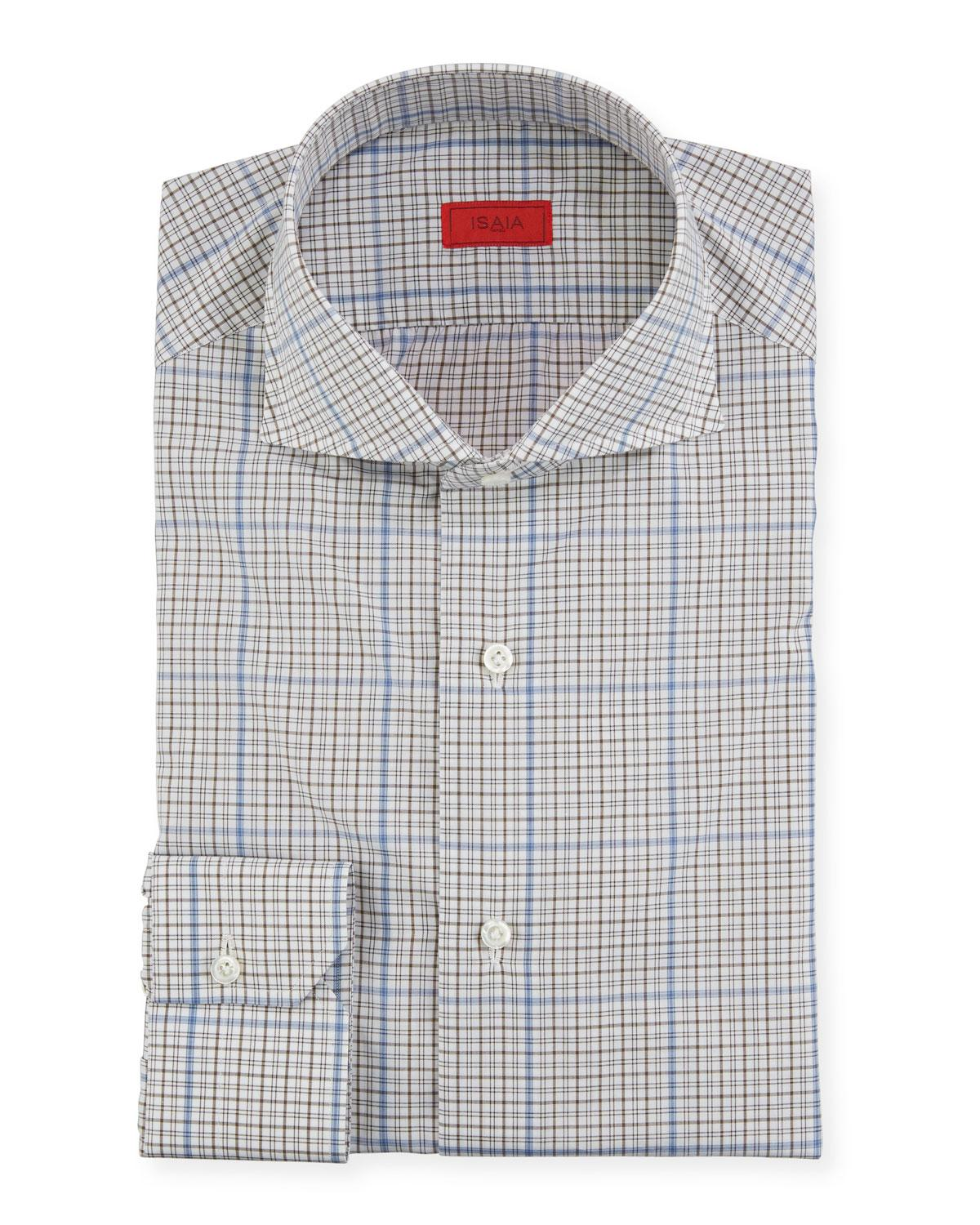 b76ea83c9 Isaia Men's Two-tone Check Dress Shirt in Blue for Men - Lyst