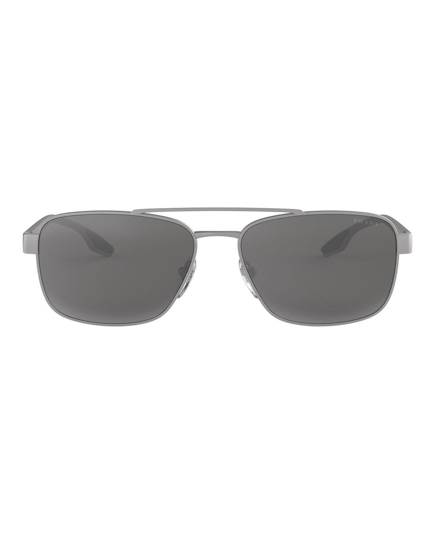 9a32005056c Lyst - Prada Men s Metal Square Aviator Sunglasses in Metallic for Men