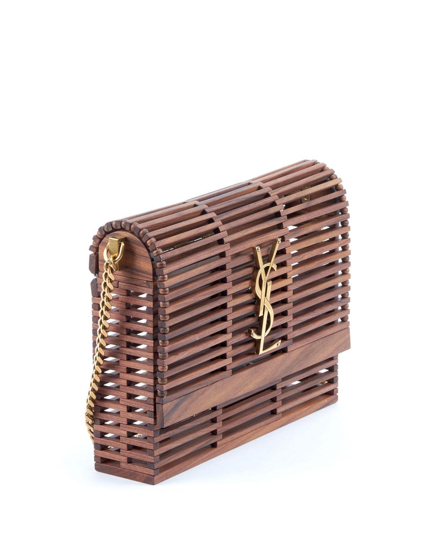 0f5710596413 Saint Laurent - Brown Small Kate Wooden Weave Box Bag - Lyst. View  fullscreen