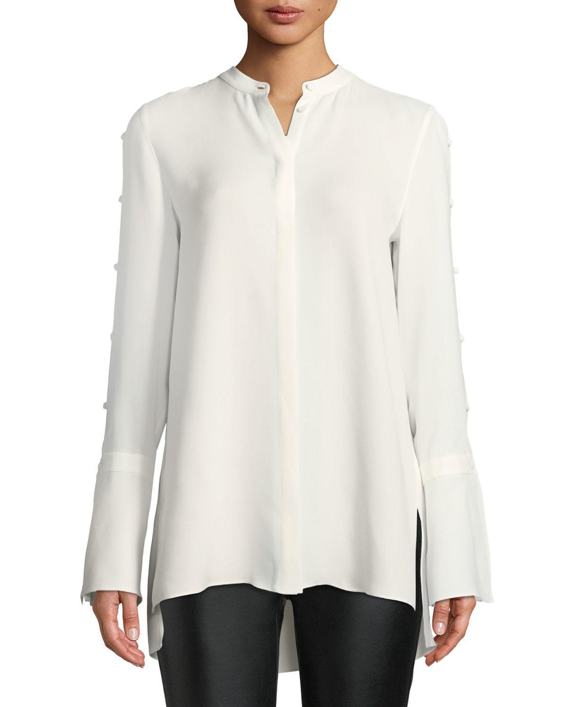 ed7e9b3da5 Lafayette 148 New York. Women's White Plus Size Nicolette Silk Double  Georgette Blouse