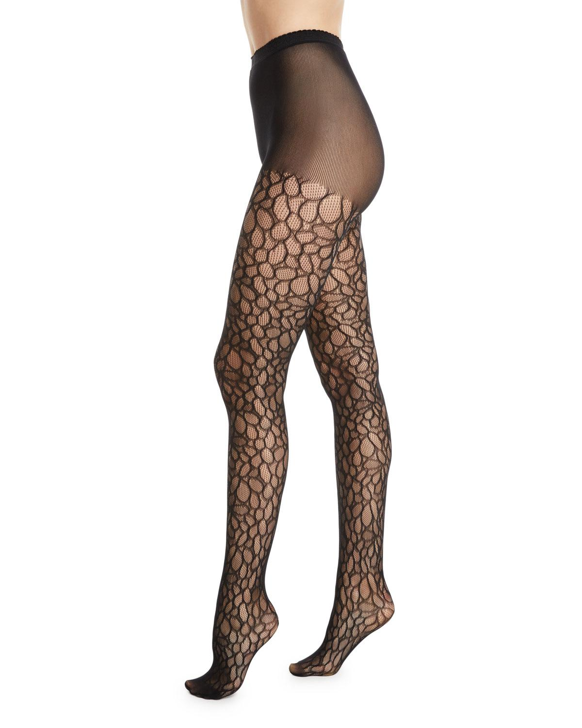 b84b250729f3e Natori Deco Lace Net Sheer Control-top Tights in Black - Lyst