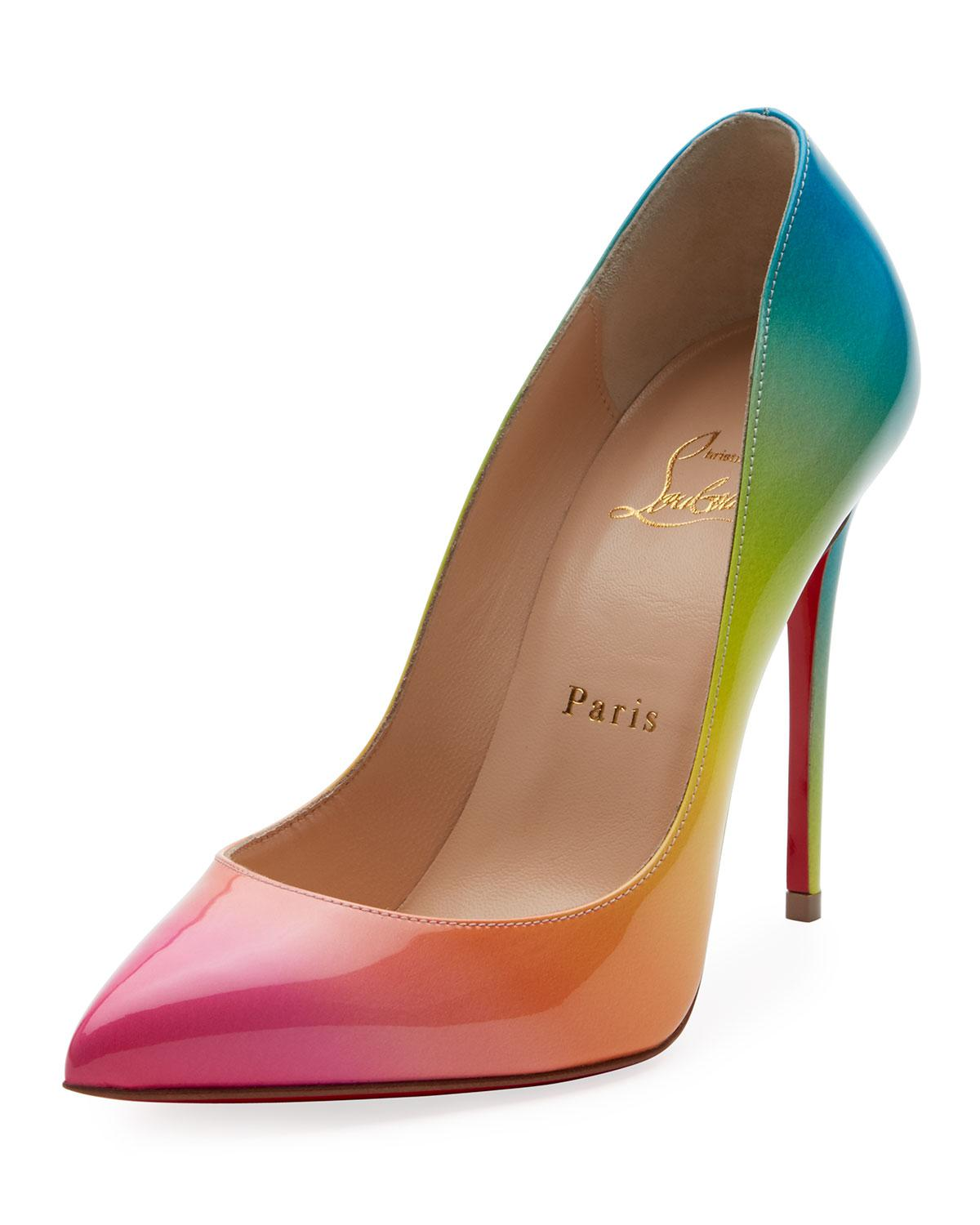 bf391a3b7e09 Lyst - Christian Louboutin Pigalle Follies 100mm Ombre Patent Red ...