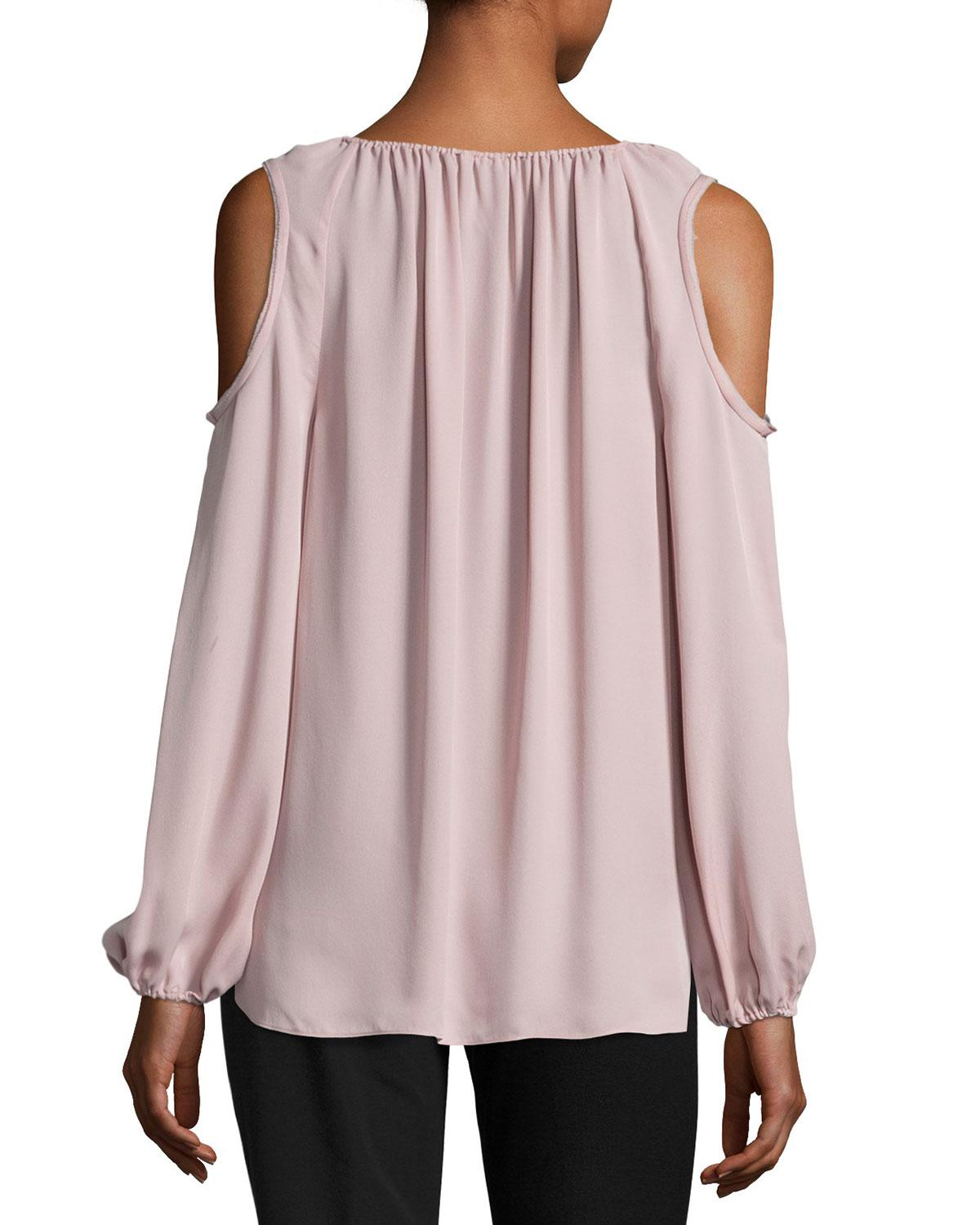 f433be13747ad7 Lyst - Elie Tahari Cathy Cold-shoulder Silk Blouse in Pink