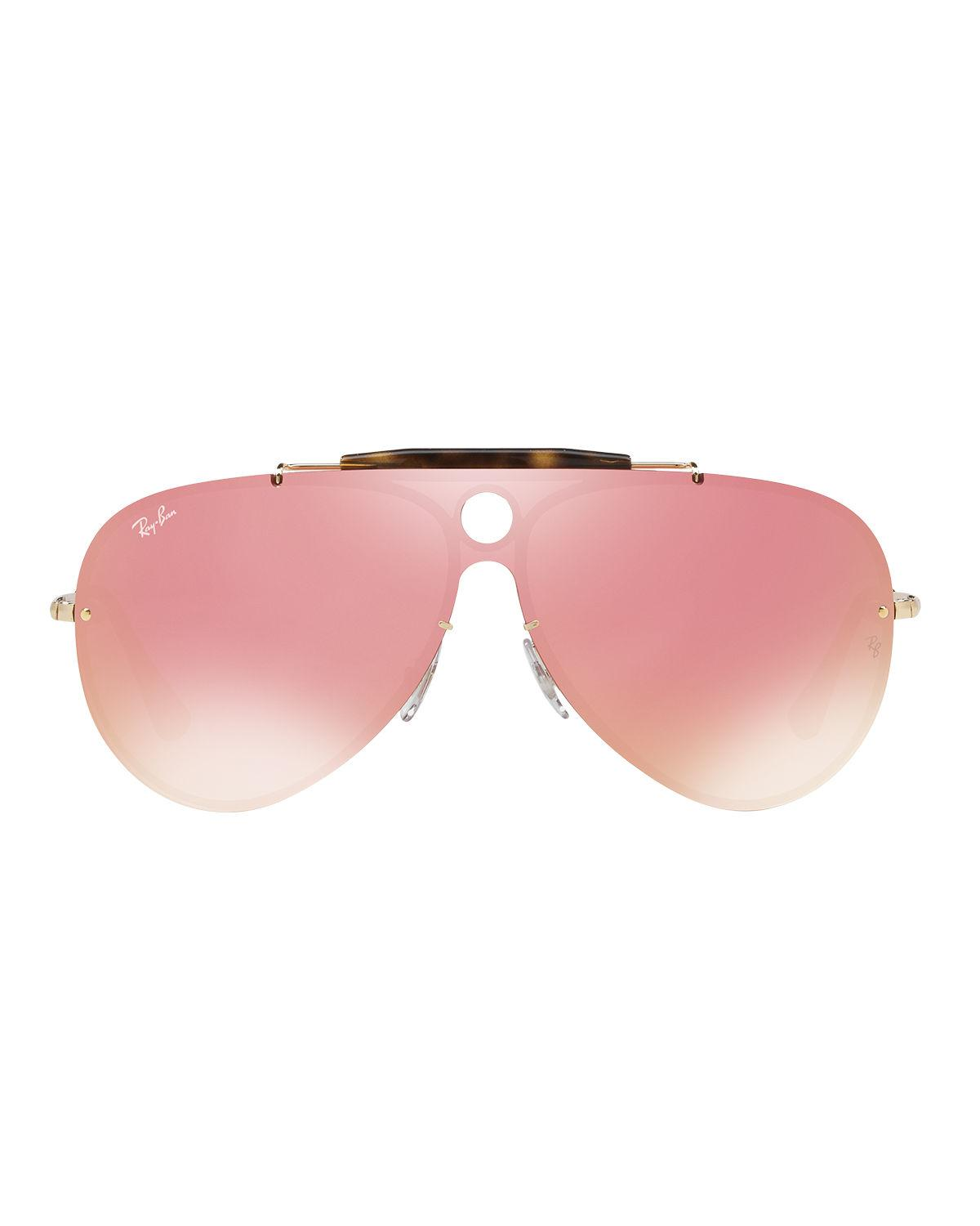 bcc29643a6b Lyst - Ray-Ban Blaze Shooter Flat Shield Sunglasses in Pink